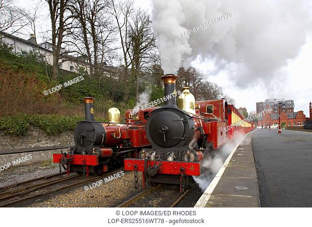 Two steam trains at Douglas Station on the Isle Of Man