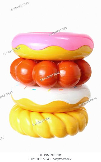 Toy Doughnuts on White Background