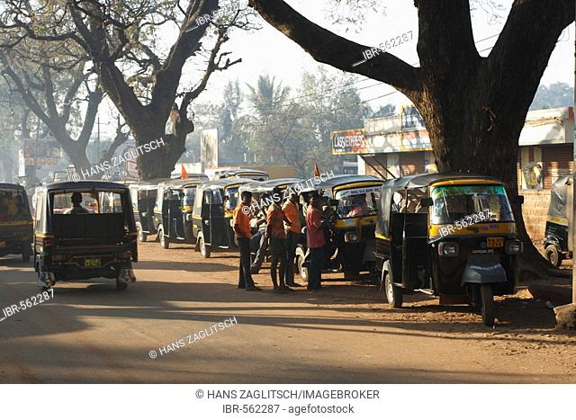 Tuk-tuks in line, waiting for passengers, Badami, Karnataka, India