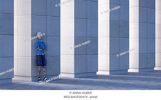 Robot leaning against a column, 3d rendering