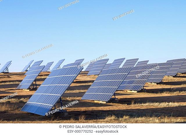 group of large photovoltaic panels with clear blue sky in Saragossa Province, Aragon, Spain