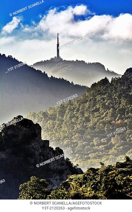 Europe, France, Var, Massif de l'Esterel. Telecommunication antenna on the hills of the mountains