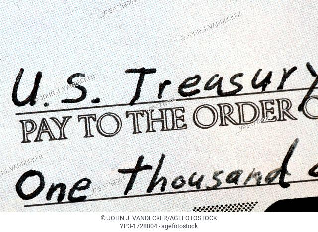 Check made out to the U S Treasury