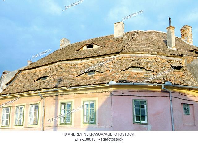Tiled roof of a historic building, Sibiu, Transylvania, Romania, Europe