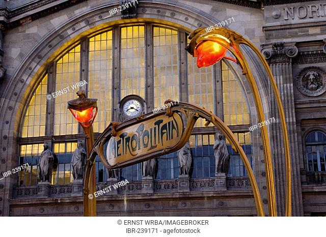 Metrostation at dawn (in front of North Railway Station) Art nouveau, Ile-de-France, France