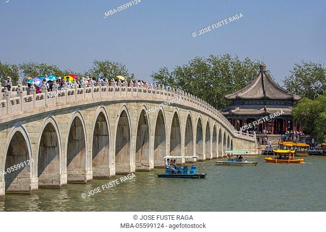 China, Beijing City, The Summer Palace, Kunming Lake, Seventeen Arch Bridge