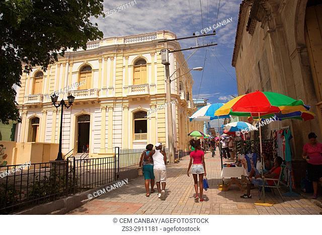 View to the open-air market in the Jose A Saco street in the city center, Santiago de Cuba, Cuba, Central America