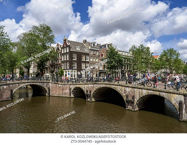 Keizersgracht and Leliegrach Canals and Bridges, Amsterdam, North Holland, The Netherlands