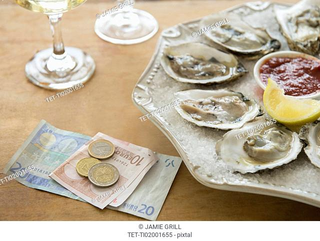 Studio shot of oysters and money