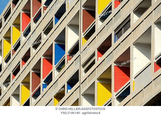 Colourful Balconies of the Cité Radieuse or Unité d'Habitation by Le Corbusier Marseille or Marseilles France