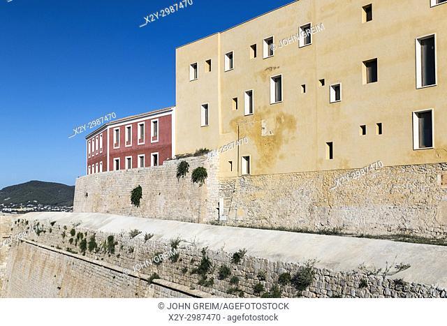 Ramparts surrounding Ibiza old town, Dalt Vila, Elvissa, Balearic islands, Spain