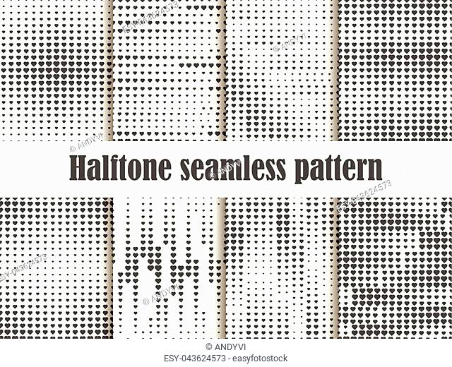 Halftone seamless pattern set, dotted backdrop with heart pop art style. St. Valentine's Day a collection of backgrounds. Black and white colors