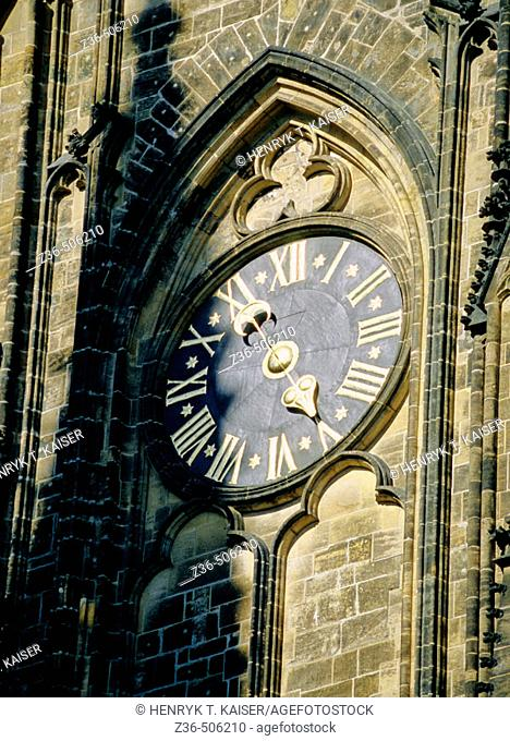 Clock on St Vitus Cathedral in Prague, Czech Republic