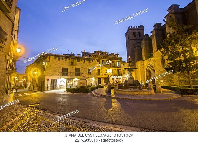 Mora de Rubielos village by dusk Teruel province Spain St Mary church