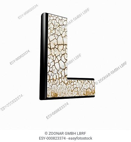 abstract 3d letter with dry ground texture - L - M