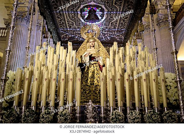 Image of the Virgin Mary with candles used in one of the processions of Semana Santa (Easter)