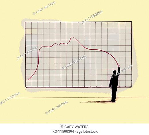Businessman drawing line graph forming profile of face
