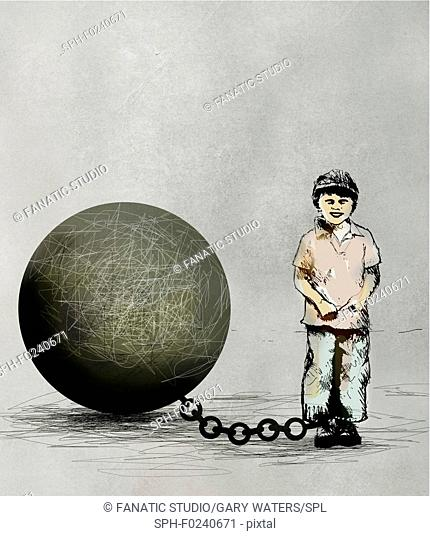 Conceptual illustration of a young boy chained to a large ball depicting children in detention