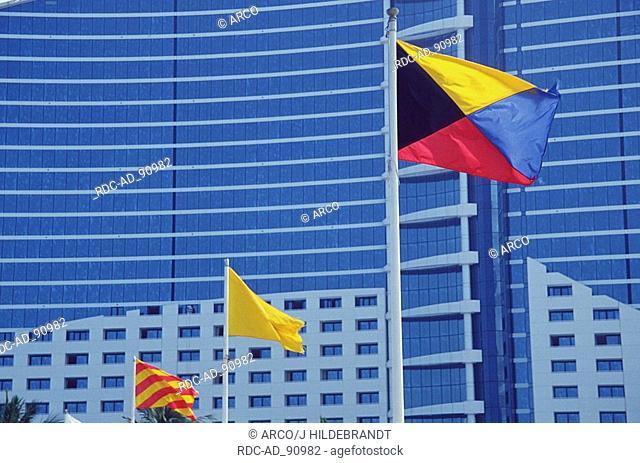 Jumeira Beach Hotel with flags Jumeira Beach Road Dubai United Arab Emirates