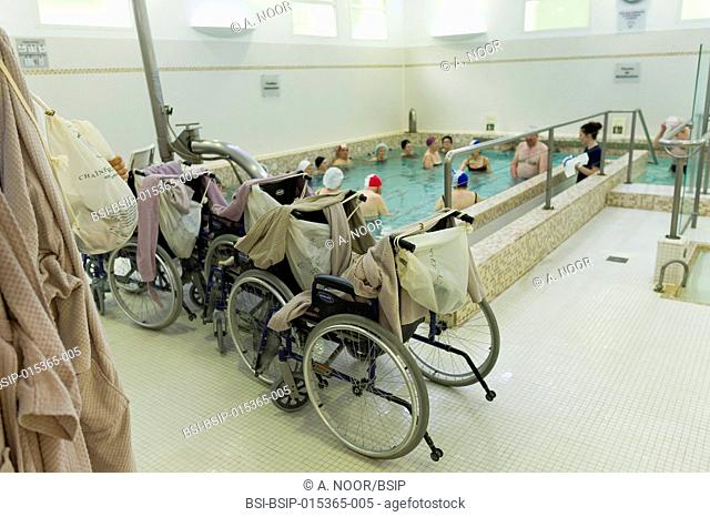 Reportage at the thermal baths in Lamalou-les-Bains, France. Leroy Pavilion, care service devoted to neurological disorders