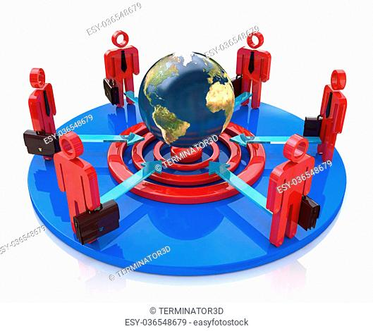 A group of competitors in a circle aiming for the same global goal in the design of information related to the business and the people