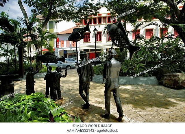 Singapore, China Town, sculptures depicting Singapore characters at Telok Ayer Green