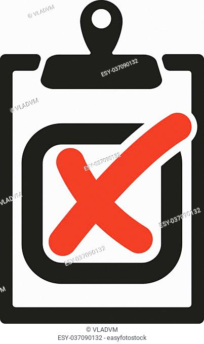The checklist icon. Clipboard and failed task, wrong answer symbol. Flat Vector illustration