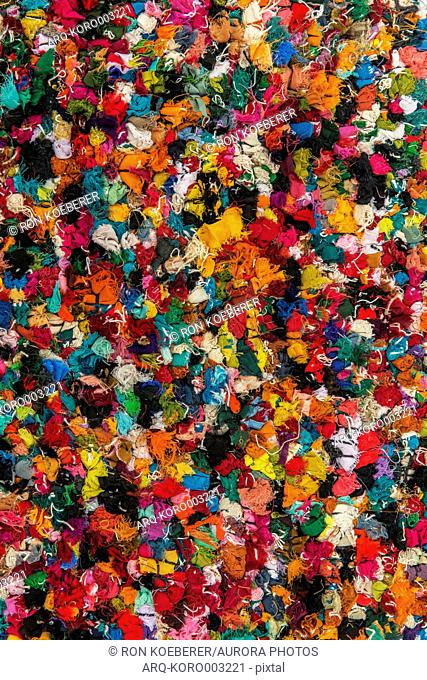 Top view close up detail of a colorful shag rug