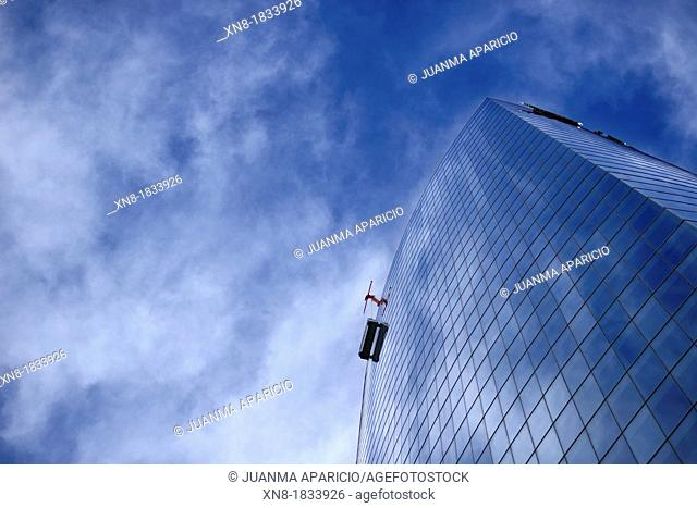 Windows cleaner at Iberdrola Tower in Bilbao city
