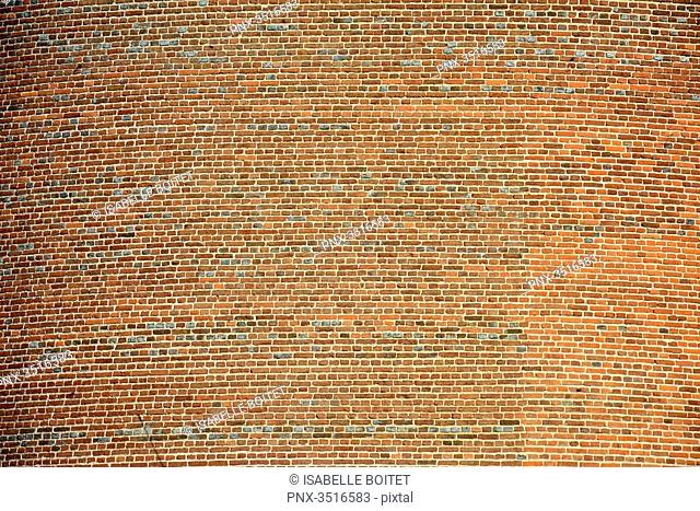 France, Bourgogne, Yonne, the castle of Saint-Fargeau, wall of brick, graphic effect