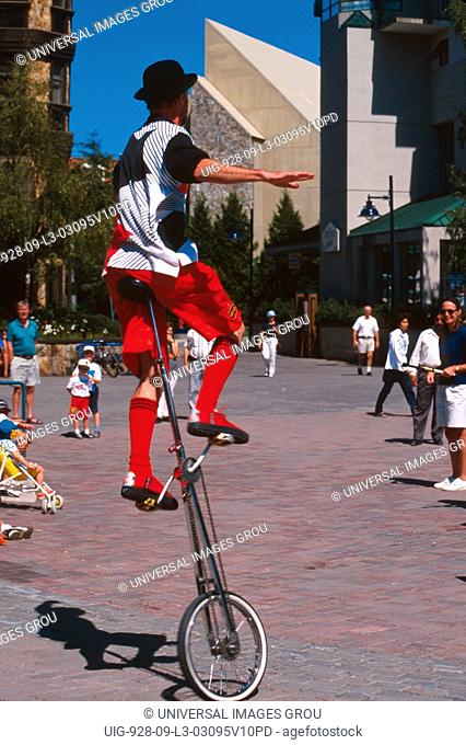 Canada, British Columbia. Unicyclist At Whistler Mountain Ski Resort