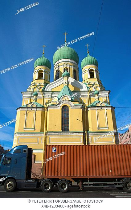 Trailer lorry passing a church central St Petersburg Russia Europe
