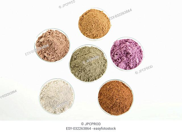 cosmetic clay yellow purple pink red white green for Spa and bodycare