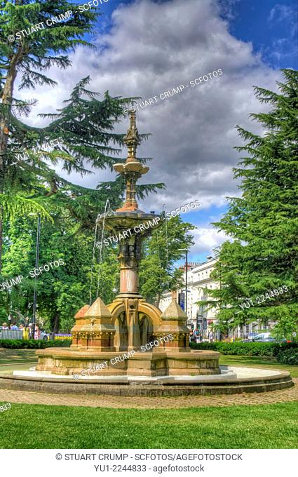 HDR of Fountain in the Jephson Gardens, formal gardens in Royal Leamington Spa, Warwickshire, England, UK