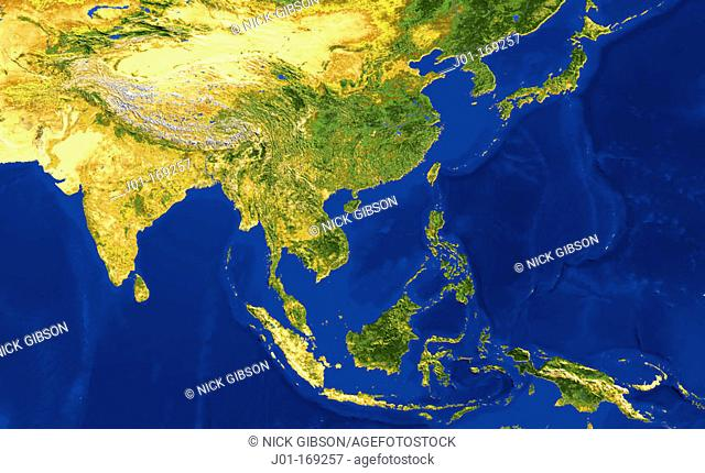 AVHRR natural colour satellite image of Indonesia, China, India and Japan with shaded topographic relief
