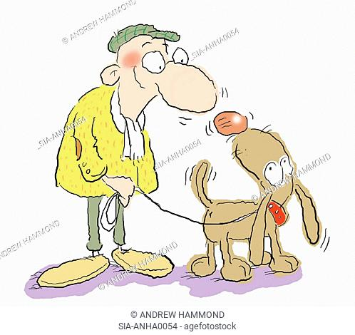 Old man with dog on white background