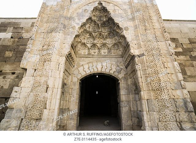 Entrance portal to the Caravanserai of Agzikarahan, 13th century caravan inn for merchants, Cappadocia, Turkey