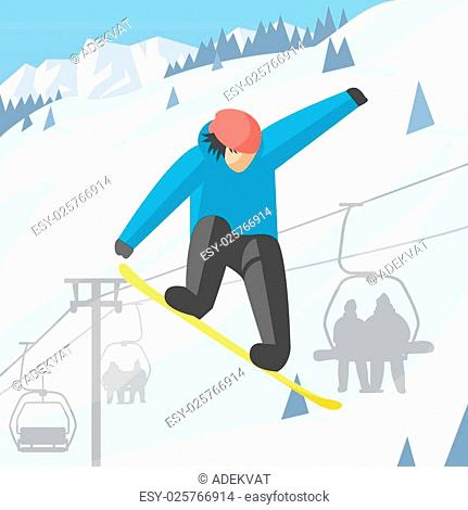 Snowboarder jumping pose on winter outdoor background. Snowboard people tricks. Snowboarder tricks. Special snowboard tricks isolated silhouette