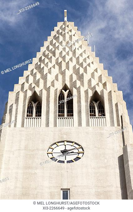 Clock on exterior of Hallgrimskirkja Church, Reykjavik, Iceland