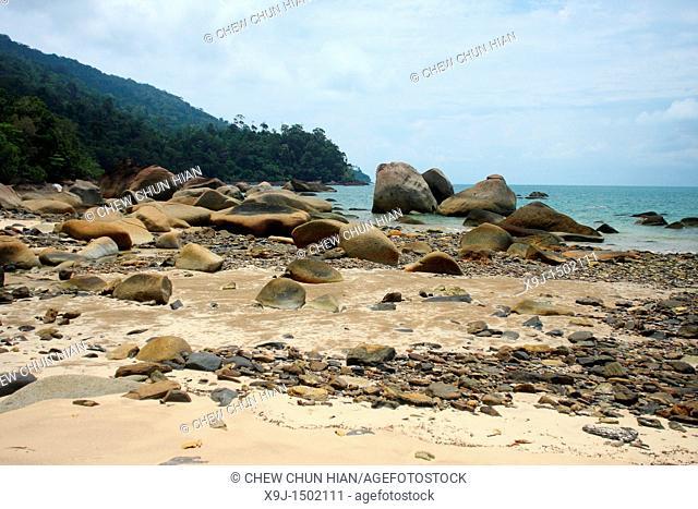Beach of tanjung datu national park, sarawak, boreno