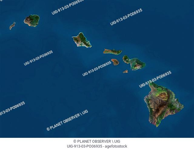 Satellite view of the State of Hawaii, USA. The main islands are Kauai, Oahu, Maui and the Island of Hawaii. This image was compiled from data acquired by...