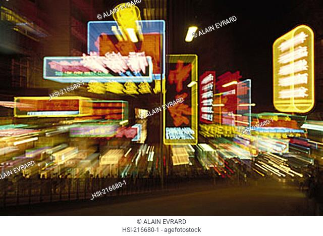 Asia, China, Hong Kong, SAR, Kowloon, Nathan Road, night, Golden Mile, neon sign, zoom effect, blur, neon, neon light, night life