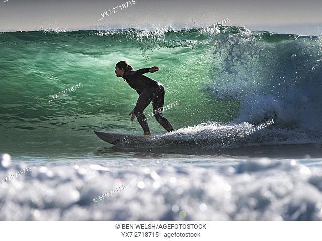 Surfing action. Tarifa, Costa de la Luz, Cadiz, Andalusia, Spain, Southern Europe