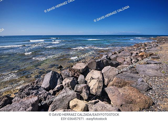 Las Americas coastline in Adeje, Tenerife, Spain. Las Americas is one of the most popular and touristic resorts, in Tenerife South area