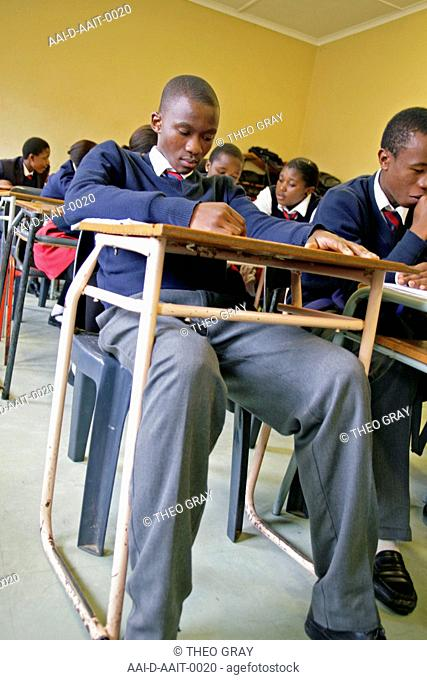 School boy reading in classroom, St Mark's School, Mbabane, Hhohho, Kingdom of Swaziland