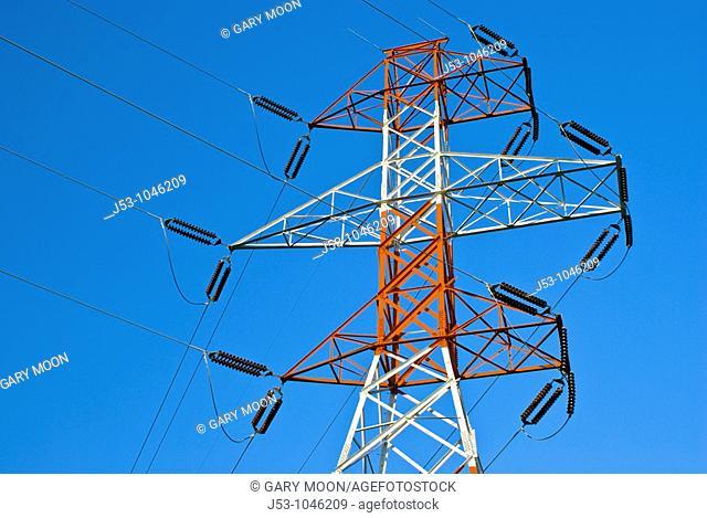 High voltage electricity transmission lines near Bonneville Dam, Washington, USA