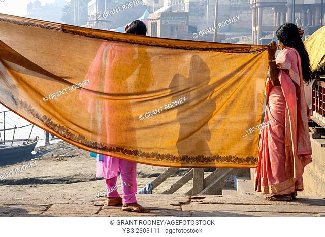 Women Hang Out Washing To Dry, The Ghats, Varanasi, Uttar Pradesh, India