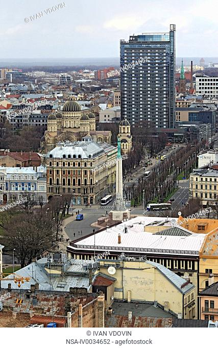 View of city from St. Peter's Church, Riga, Latvia