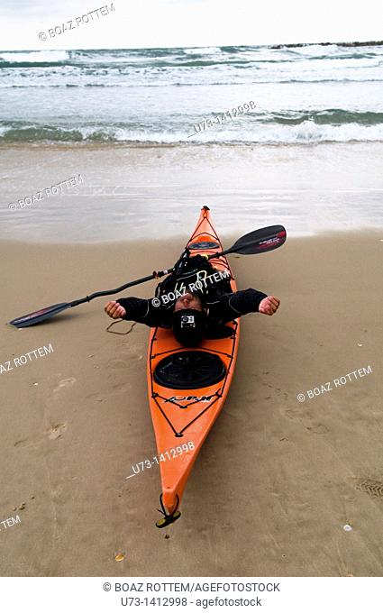 Early morning Kayaking in the Mediterranean sea