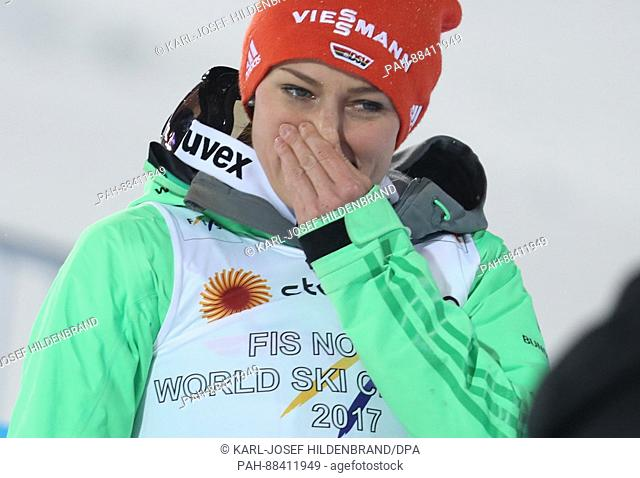 German world champion Carina Vogt celebrates at the FIS Nordic World Ski Championships 2017 in Lahti, Finland, 24 February 2017